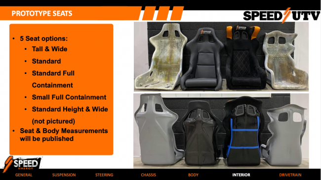 Speed UTV seat options